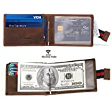 RFID Leather Minimalist Front Pocket Slim Wallets for Men with Money Clip
