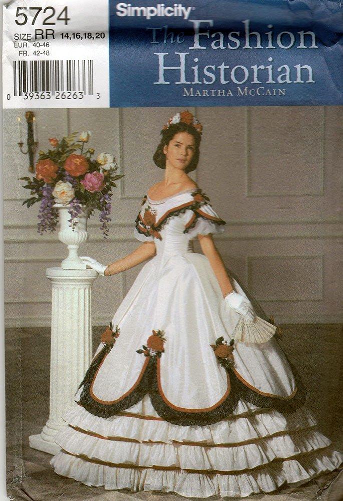Amazon.com: Simplicity 5724 Sewing Pattern Misses Civil War Ball ...