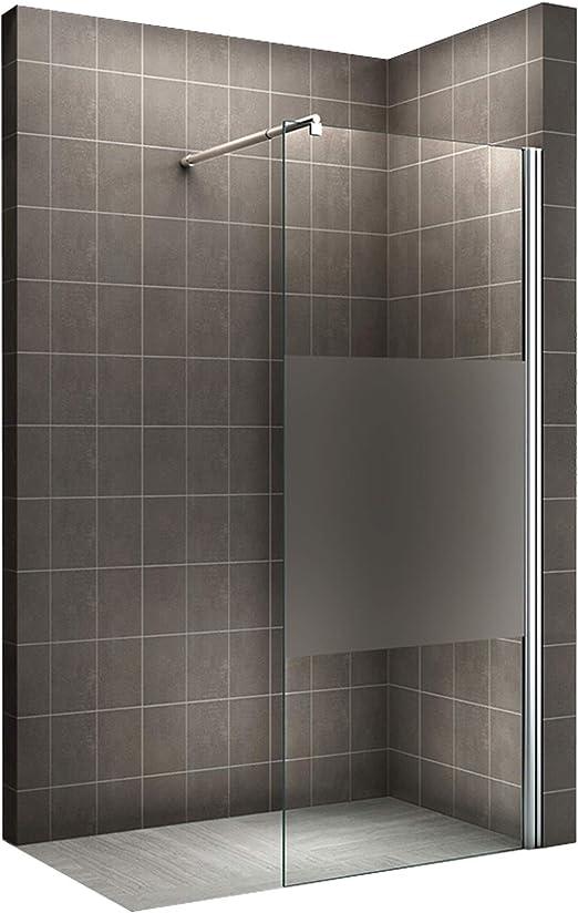Mampara de ducha. Vidrio templado con una parte translúcida # 840, 140 cm x 200 cm: Amazon.es: Hogar