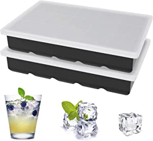 Ice Cube Trays, Ouddy 2 Pack Silicone Ice Cube Tray for Freezer with Removable Lid, 15 Ice Trays Stackable Durable Ice Cube Molds for Whiskey, Baby Food (Black)