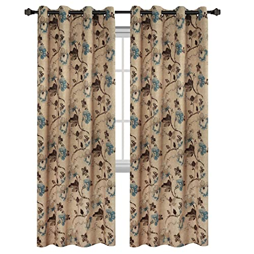 living room picture window treatments large hversailtex vintage floral with brown aqua taupe pattern blackout living room window curtains curtains for room amazoncom