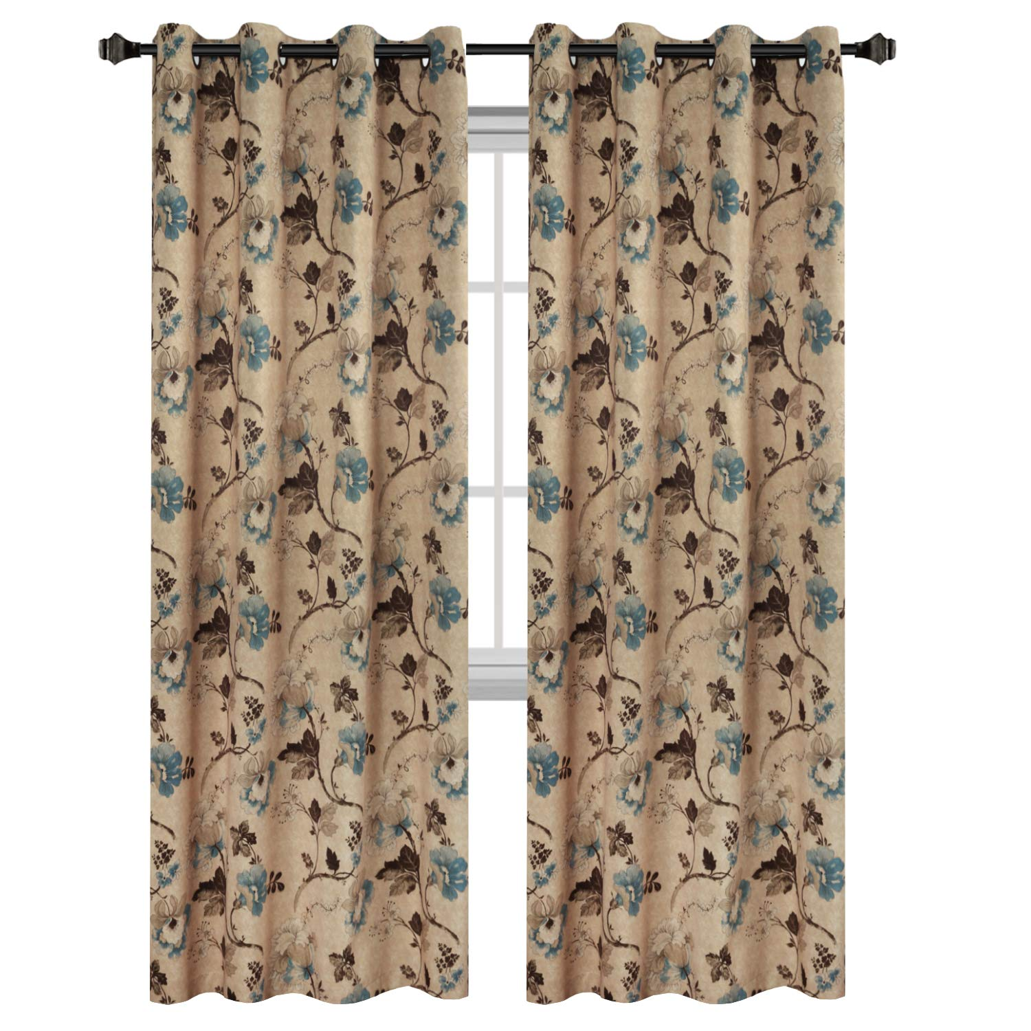 H.VERSAILTEX Vintage Floral with Brown Aqua Taupe Pattern Blackout Living Room/Bedroom Window Curtains (2 Panels, Copper Grommets, 52 by 84 inch Long)