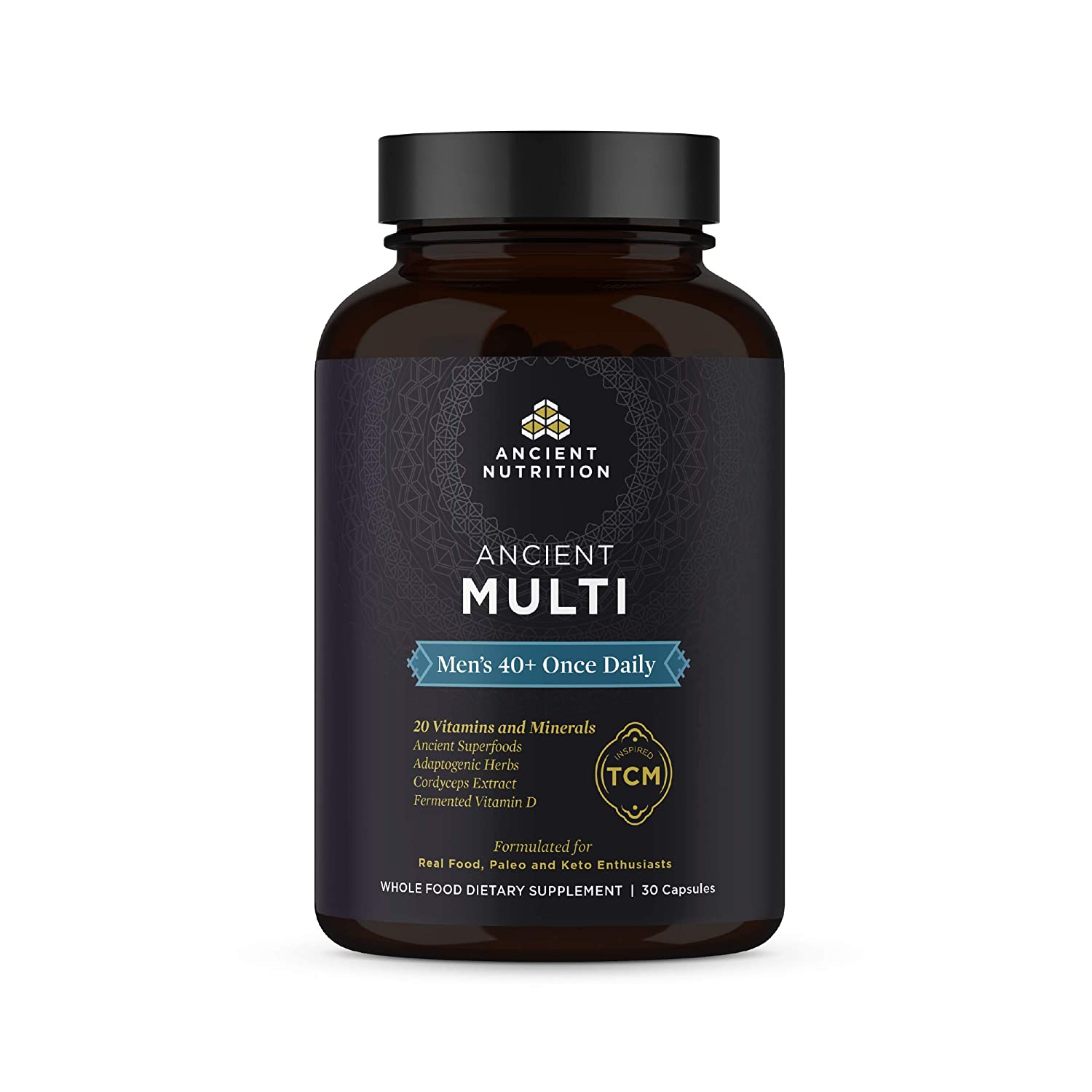 Ancient Nutrition, Ancient Multi Men s 40 Once Daily – 20 Vitamins Minerals, Adaptogenic Herbs, Cordyceps Extract, Paleo Keto Friendly, 30 Capsules
