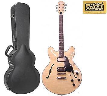 Oscar Schmidt Delta King Semi hueca guitarra eléctrica, W/duro caso, Natural,