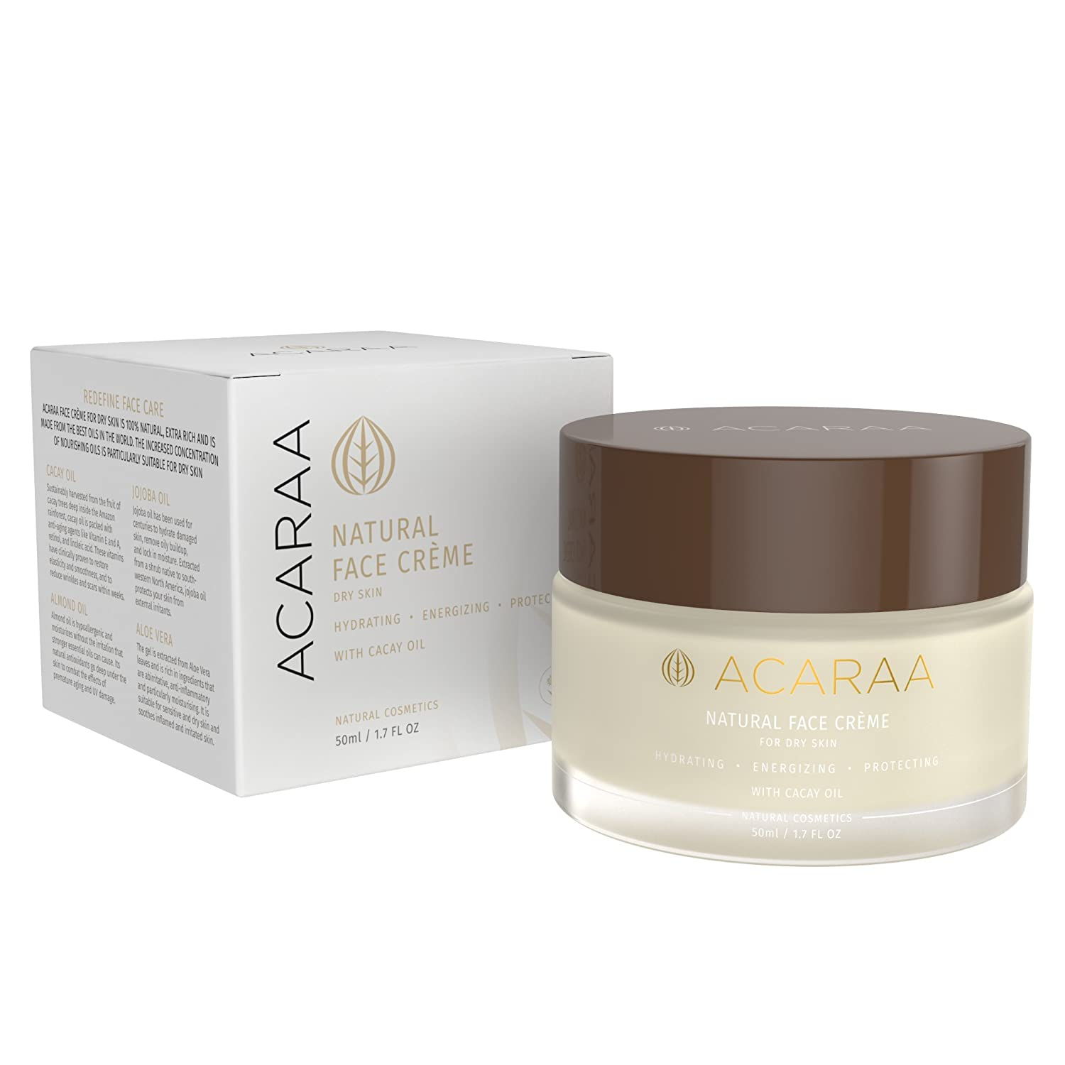 ACARAA Anti-Aging Face Cream For Sensitive Skin, Dry Skin Face Moisturizer For Women, Anti Wrinkle Day Night Cream With Aloe Vera Cacay Oil, Natural Cosmetics From Germany, 1.7 oz