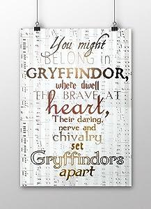Harry Potter Poster, Gryffindor Wall Decor, Harry Potter Print, Hogwarts School, House Gryffindor, Harry potter nursery, decor, A3 size (297mm x 420mm / 11.69 x 16.53 inches) Unframed print.