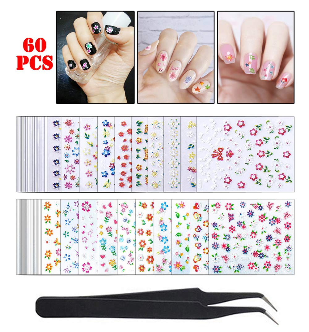 WOKOTO 60 Sheets Adhesive Nail Art Sticker Tips 3D Colorful Flower Design Holographic Nail Decals Set Manicure Accessories With 1Pc Tweezers by WOKOTO