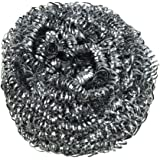 Brheez Stainless Steel Large Scouring Pad Commercial Grade Heavy Duty Steel Wool 100 Grams, removes grease, oil and dirt stains from pots, plates, cups, glassware and bakeware- 12 Pack