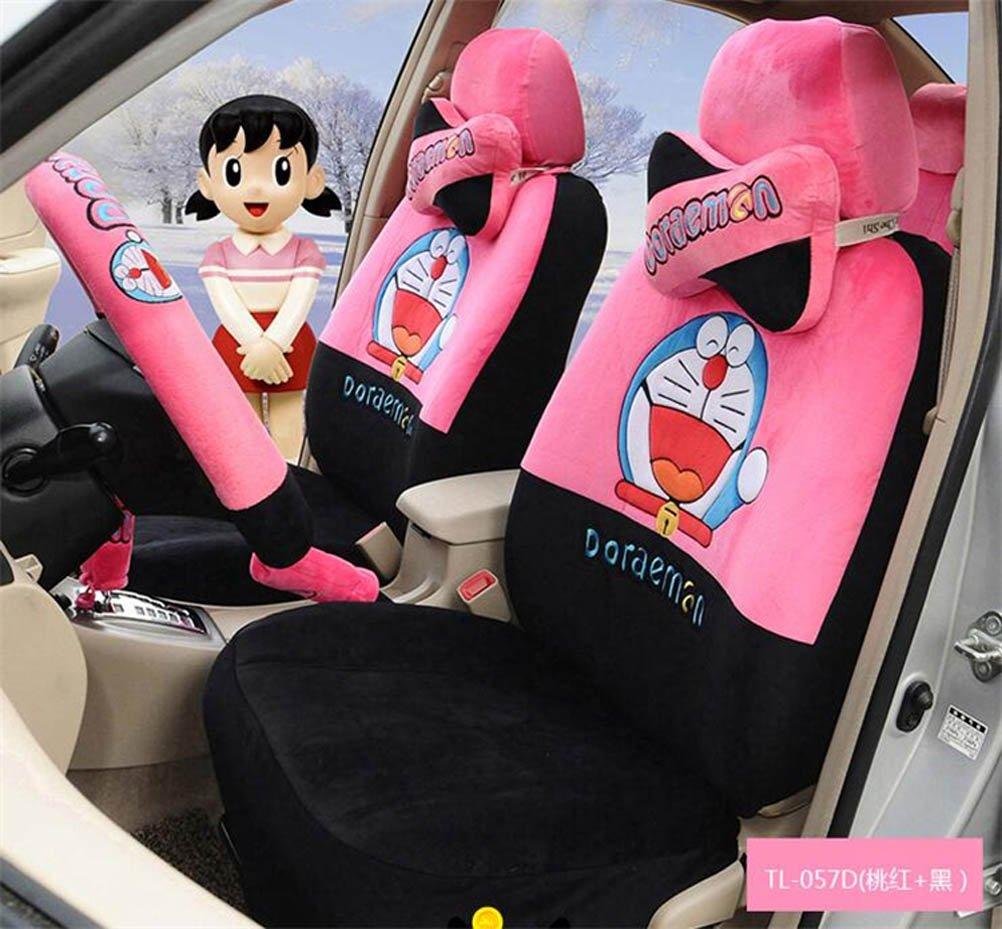 1 Sets lovely cartoon comfotable Universal Car five Seat covers Car Steering Wheel Cover women car seat cushion (peach black)