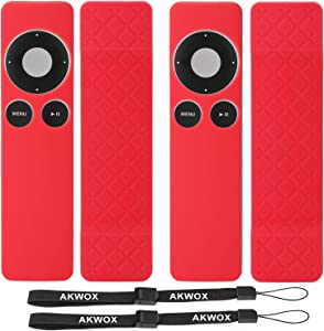 [2-Pack] Silicone Case for Apple TV 2 3 Remote Controller, AKWOX Protective Cover Case,Protect and Cover Your Controller, Hand Strap Included - Rose red