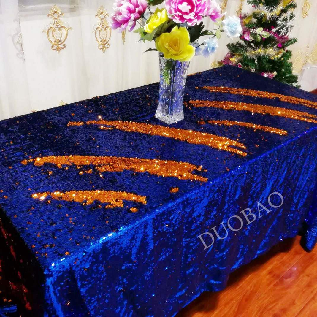 DUOBAO 72x108-InchRectangleSequinTableclothRoyal Blue to Orange Glitter Table Cloths Mermaid Sequin Table Cover for wedding/party/birthday-0612H