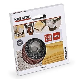 Kreator 03255004 Disco de láminas para amoladora Ø 115 mm grano 60