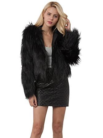 7102be16791 Simplee Apparel Women's Warm Winter Hairy Hooded Faux Fur Coat Fluffy Long  Sleeve Jacket Overcoat Outerwear