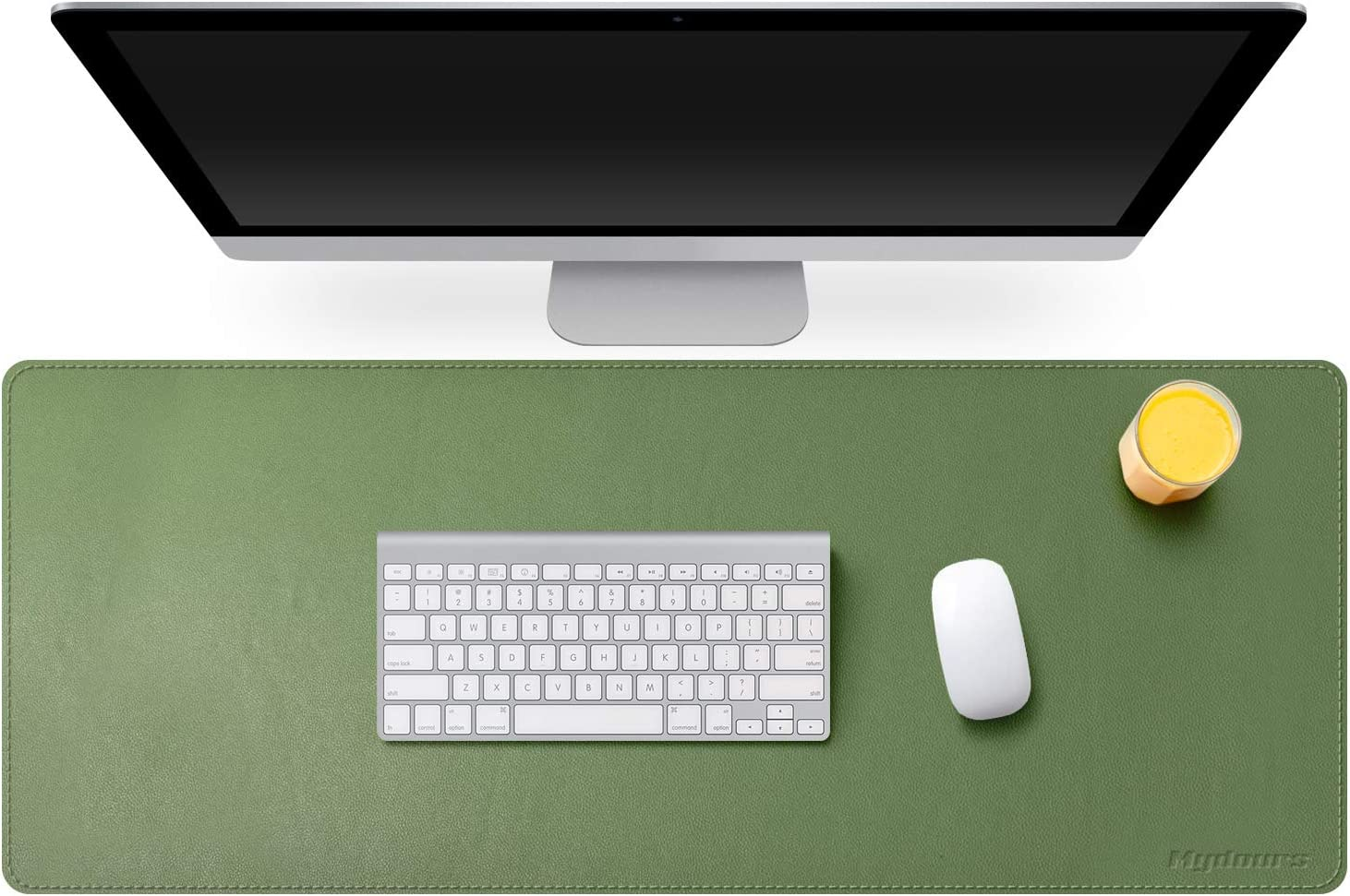 """Mydours Desk Pad - PU Leather Office Desk Mat 37.4""""×15.7"""" XXL Desk Blotter Laptop Keyboard Mat Waterproof Dual Use Writing Pad Mouse Pad for Office and Home (Green)"""