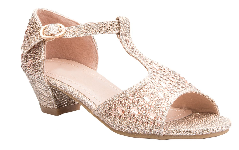OLIVIA K Girls Glitter And Rhinestone Open Toe Wedge Heel (Toddler/ Little Girl)