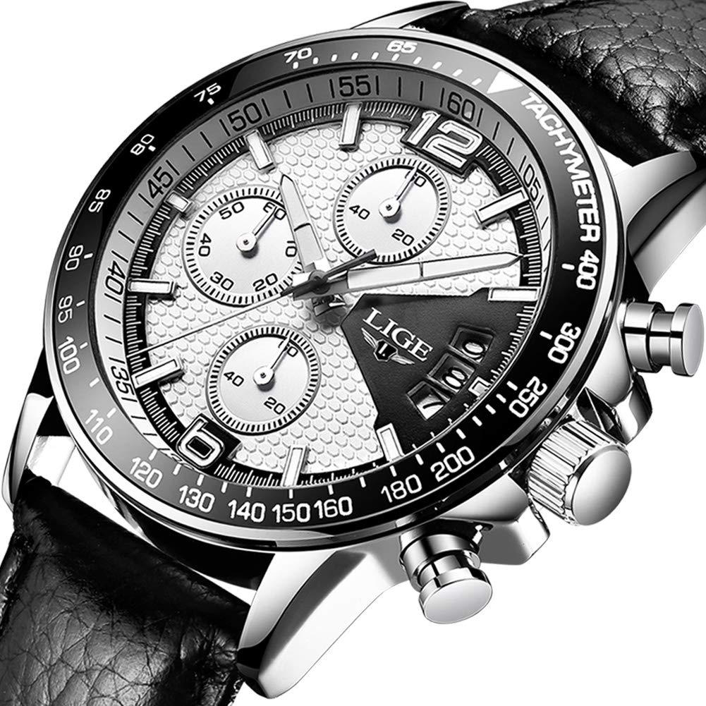 Relojes Hombre Impermeable Cronógrafo Correa de Cuero Relojes de Pulsera Lujo Marca LIGE Calendario Deportivo Casual Clásicos Multifunción Relojes analógico de Cuarzo …