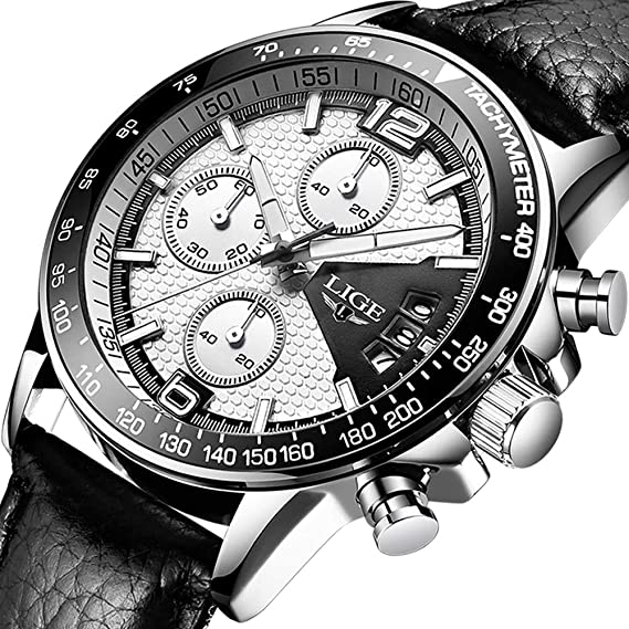 Relojes Hombre Impermeable Cronógrafo Correa de Cuero Relojes de Pulsera  Lujo Marca LIGE Calendario Deportivo Casual Clásicos Multifunción Relojes  analógico ... 350594f9ee1b