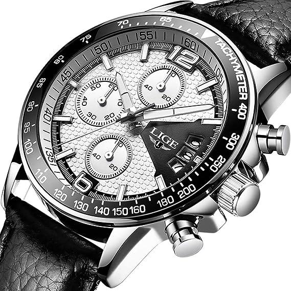 Relojes Hombre Impermeable Cronógrafo Correa de Cuero Relojes de Pulsera Lujo Marca LIGE Calendario Deportivo Casual