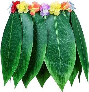 XU-XIAZHI,Hawaiian Luau Green Leaf Jupe en Tissu Artificiel ressemblant à de la Soie pour Le Beach Dance Party(Color:Vert DE MER)