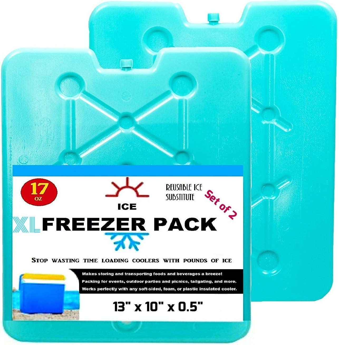 Large Ice Packs For Coolers and Ice Chest by Portion/Perfect - 20 Minute Quick Freeze Long Lasting Freezer Packs - Slim, Sealed and Reusable Ice Substitute 13 x 10 inch - Set of 2