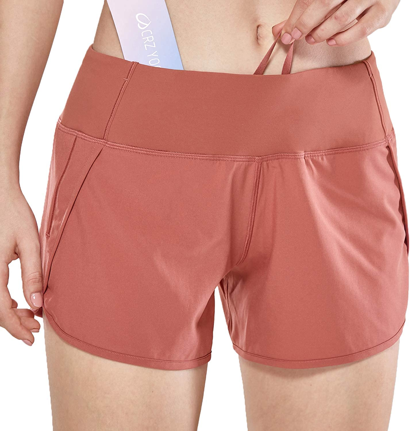 CRZ YOGA Womens Quick-Dry Athletic Sports Running Workout Shorts with Zip Pocket 4 Inches