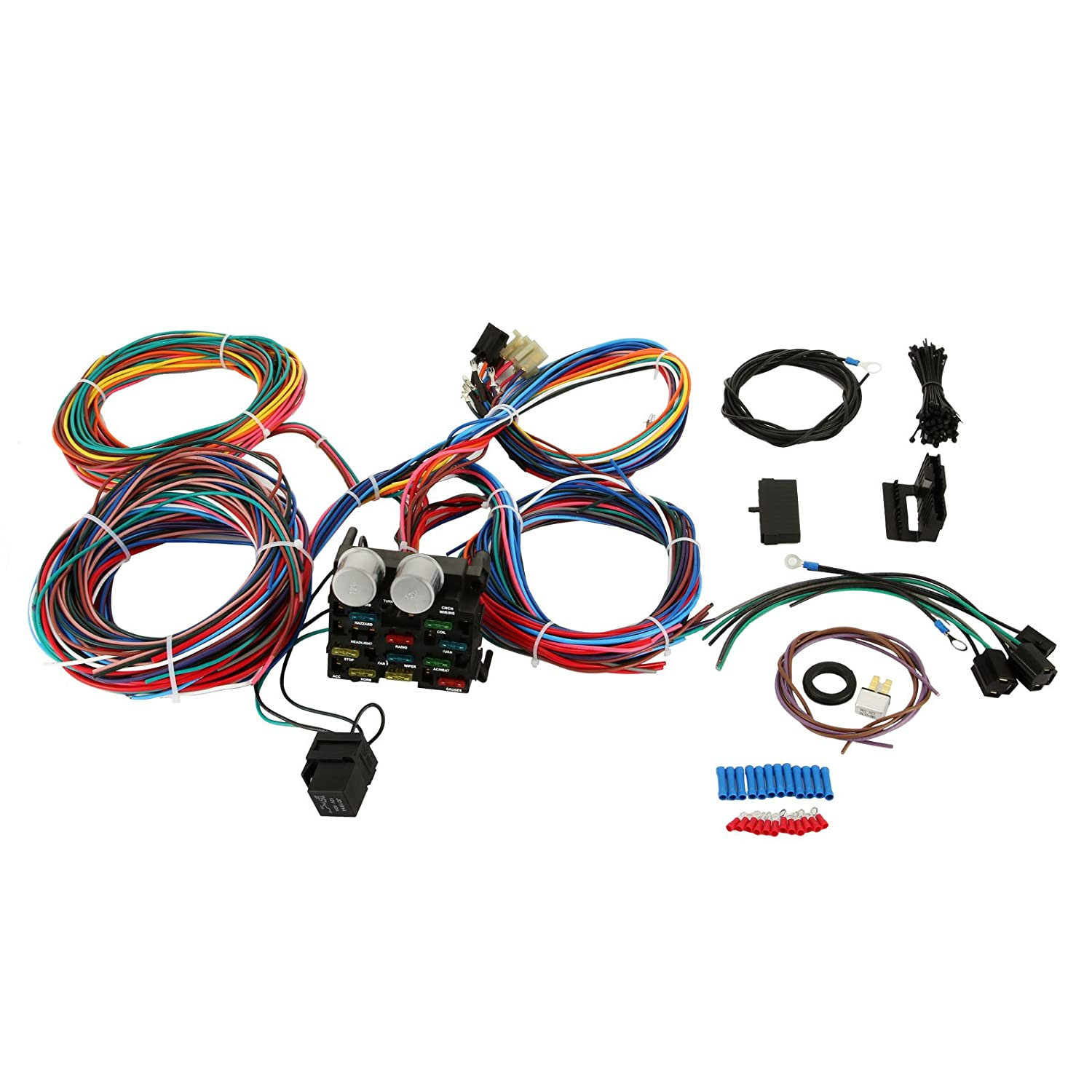 Mophorn Wiring Harness Kit 12 Circuit Hot Rod Universal Classic Car Colr Diagram Small Sample Muscle Street Xl Wires Automotive