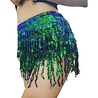 Yollmart Women's Sequins Tassel Skirts Shorts Booty Dance Festival Bottoms