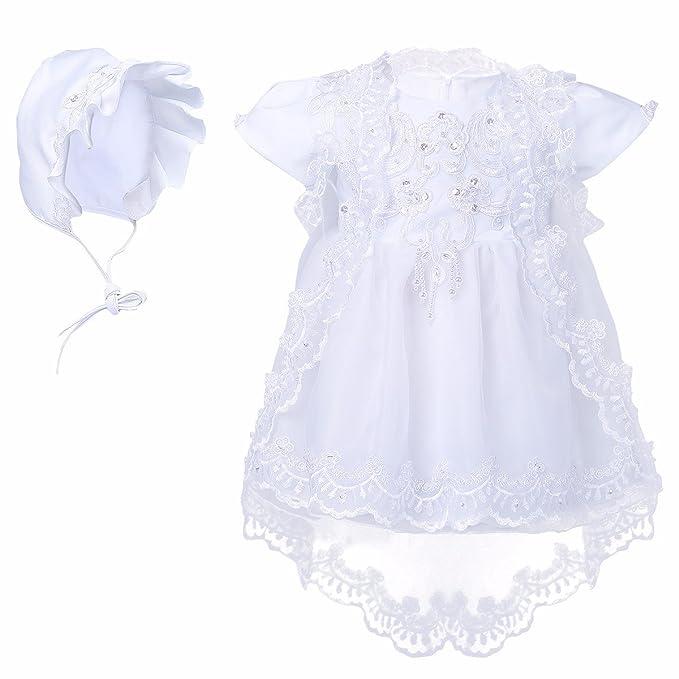 YIZYIF 3 Piezas Gorro Mantilla De Bebé Vestido Bebé Niña(3-12 Meses)