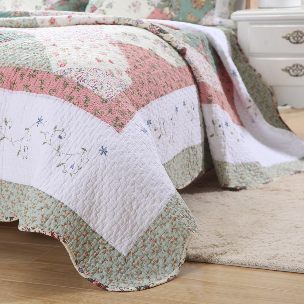 Cozy Line Home Fashions Floral Patchwork Tiffany Green Pink Lilac Country, 100% COTTON Quilt Bedding Set, Reversible Coverlet Bedspread, Scalloped Edge,Gifts for Women (Celia Tiffany, King - 3 piece) by Cozy Line Home Fashions (Image #3)
