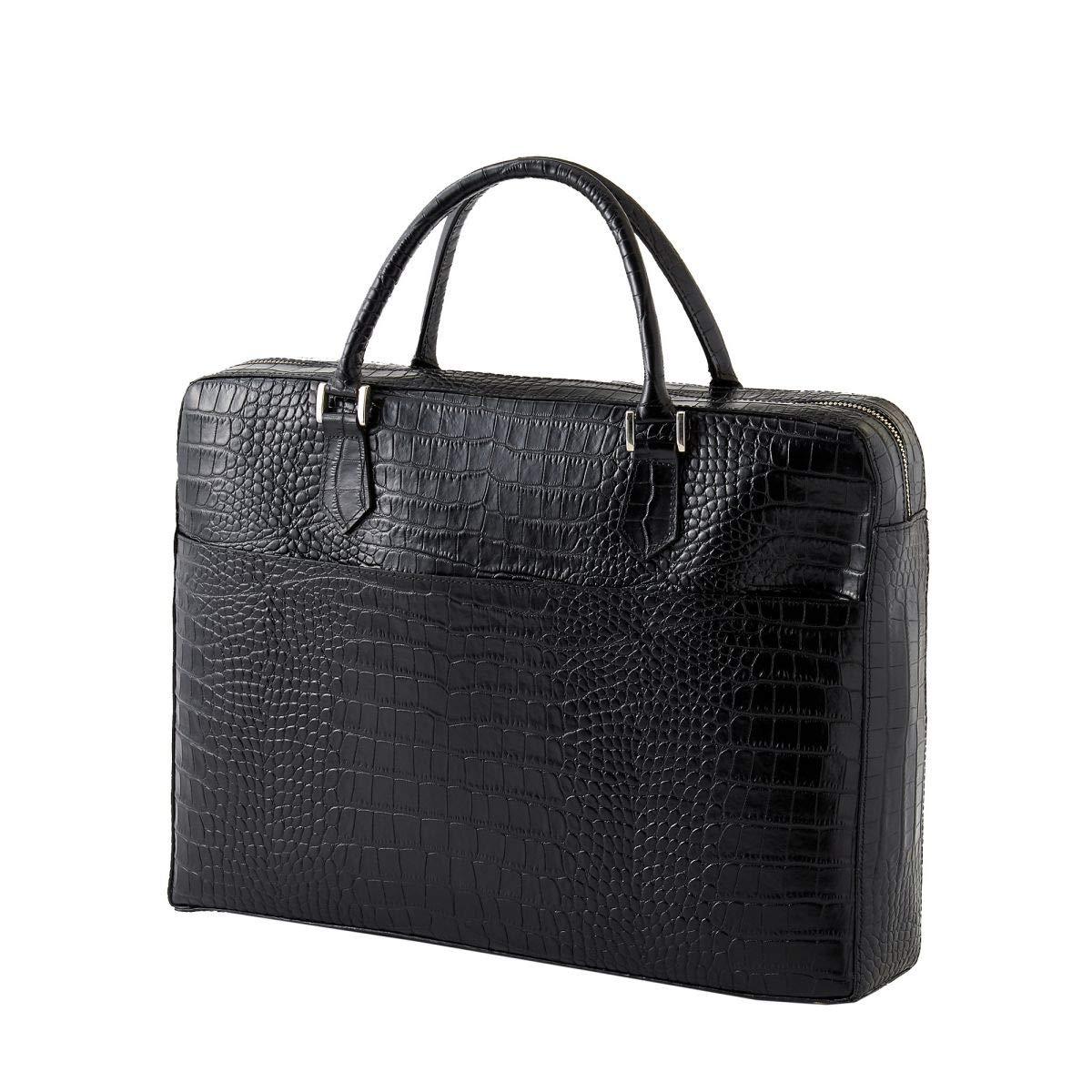 [オジエ] ozie【バッグ鞄かばん】メンズブリーフケースビジネスバッグレザーバッグクロコダイル型押し牛革 ブラック B07R7TH978
