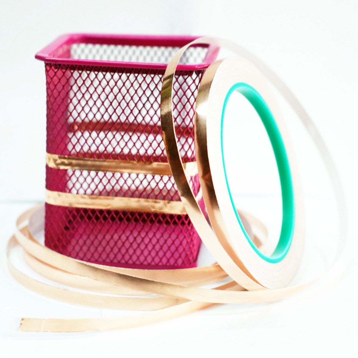 Copper Foil Tape,4Pcs DIKOO Double-Sided Conductive Adhesive (1/4inch X 21.8yards) for EMI Shielding,Slug Repellent,Electrical Repairs,Stained Glass,Art Work,Soldering,Grounding Paper Circuits,Crafts by DIKOO (Image #3)
