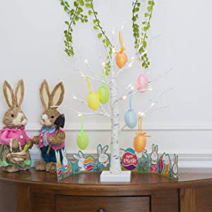 EAMBRITE Easter Decoration 24IN 24LT Easter Egg Ornament with Lights Timer Battery Operated White Twig Tree Centerpiece Decor for The Home Party Wedding