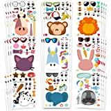 Amor 36 PCS Make-a-face Sticker Sheets Sticker Party Favors for Kids Animal Face Stickers for Festival, Reward, Art…