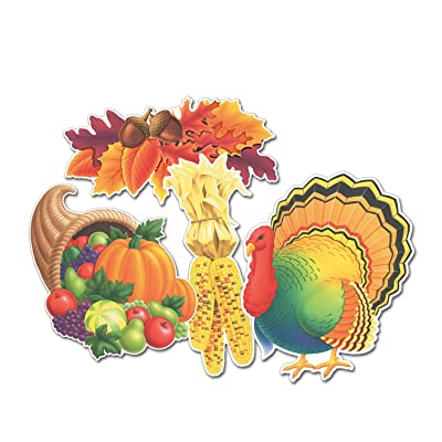 Beistle 4-Pack Decorative Packaged Thanksgiving Cutouts, 14-Inch: Childrens Party Decorations: Kitchen & Dining