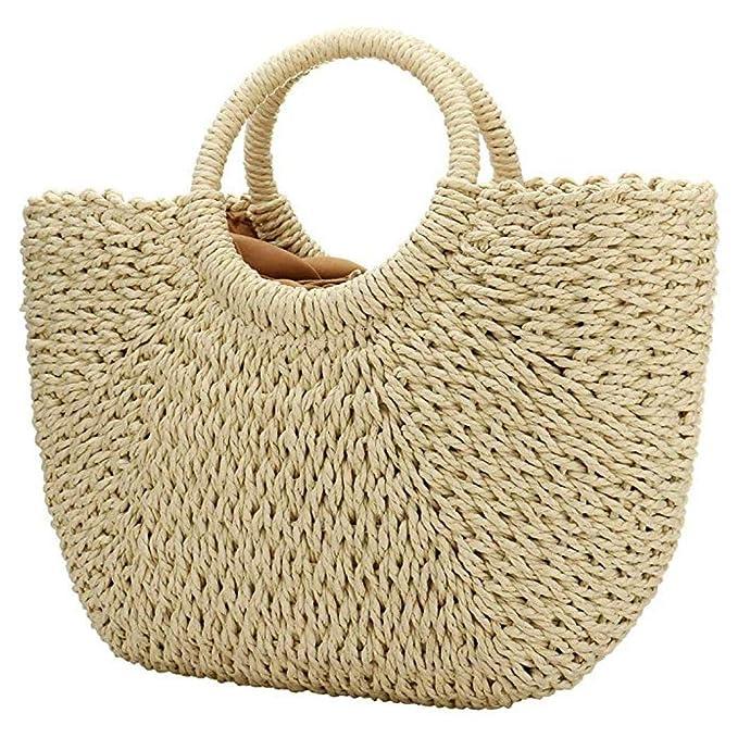 Bolsas de paja para mujer, bolso de mano de paja grande, bolso de verano, playa, bolso de hombro tejido, asa
