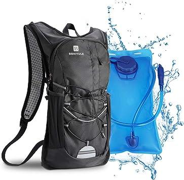Mochila de hidratación de 2L con bolsa de bicicleta de vejiga de hidratación para correr al aire libre Ciclismo Ciclismo Senderismo , Mochila de agua con sistema de hidratación para hombresy mujeres: