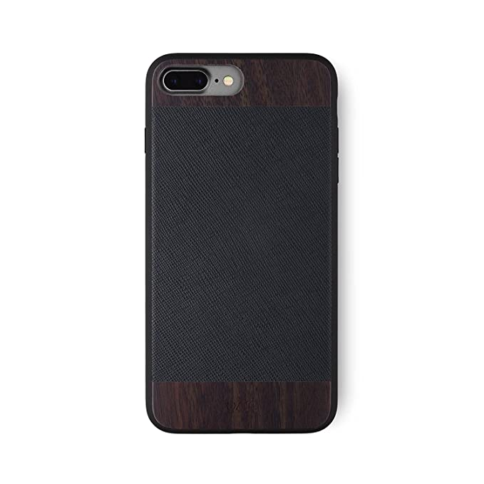 timeless design 0ab26 bf881 iATO iPhone 7 Plus / 8 Plus Designer Case - Black Saffiano Genuine Leather  and Real Bois de Rose Wood Premium Protective Bumper. Unique & Classy ...