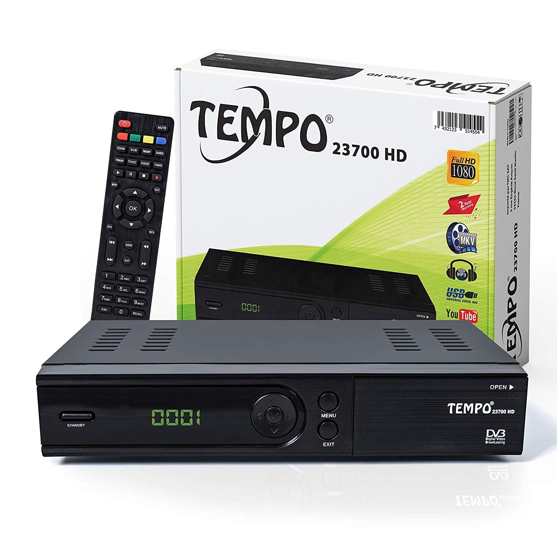 HDTV, DVB-S//S2, HDMI, SCART, 2X USB 2.0, Full HD 1080p Tempo 23700 Preprogrammato per Astra Hotbird T/ürksat Ricevitore satellitare