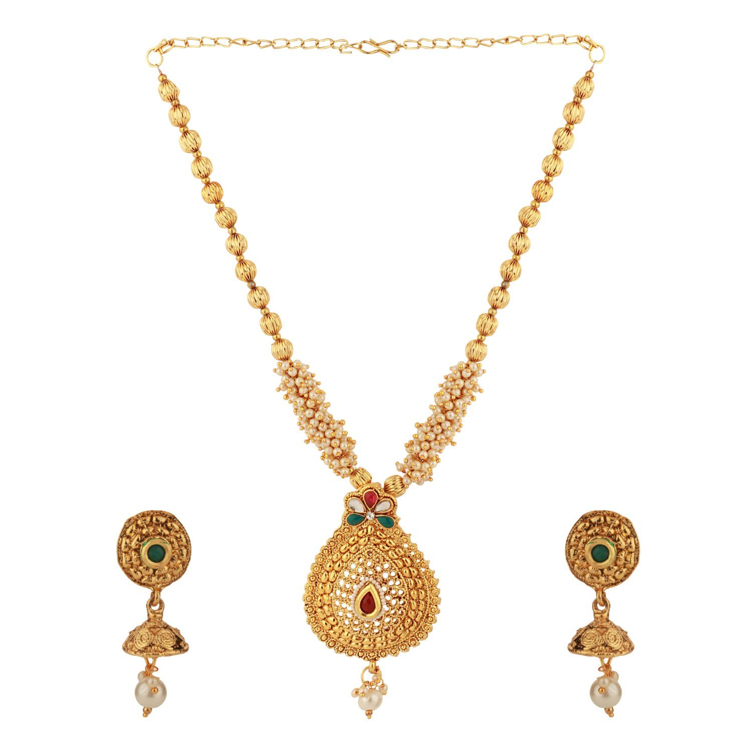 Efulgenz Indian Bollywood Traditional 14 K Gold Plated Crystal Kundan Temple Pearl Beaded Wedding Necklace Earrings Jewelry Set