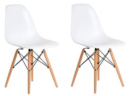 Aryana Home Eames Réplica Set de sillas, Haya, Blanco, 51x46 ...