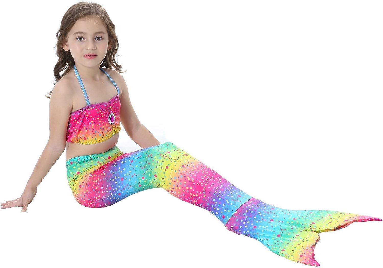 DecStore 3PCS Girls Swimsuit Mermaid Tail Swimwear Bikini Set Costume for Swimming