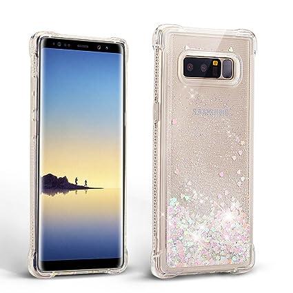 Mosoris Carcasa para Samsung Note 8, Silicona Bling Arena Movediza Lentejuela Funda Glitter Líquido Brillar Cubierta Tapa Choque Absorción Cubierta ...