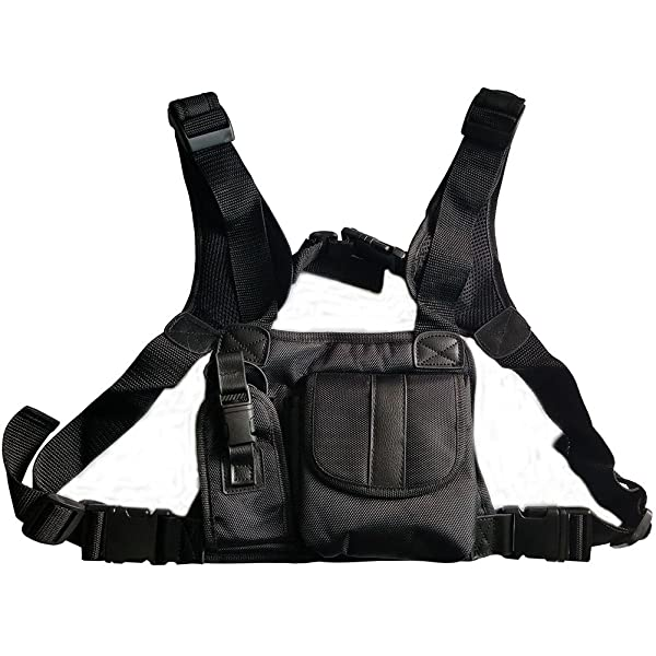 Lewong Universal Hands Free Chest Harness Bag Holsterfor Two Way Radio (Rescue Essentials) (Leather Black) (Color: Leather Black)