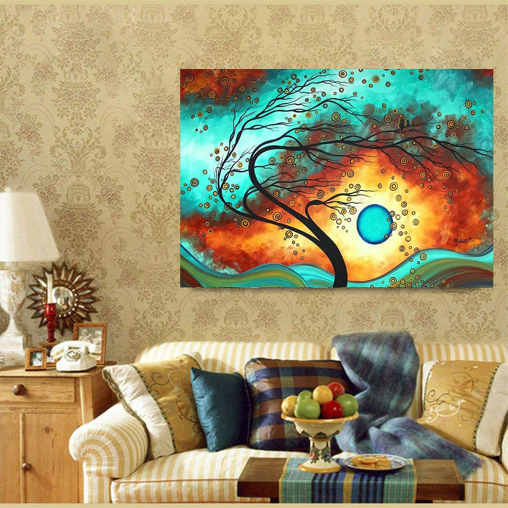 Fipart DIY Diamond Painting by Numbered kit Full-drilled Abstract Sunset Cross-Stitch Art Craft Wall Decoration,12X16 inches