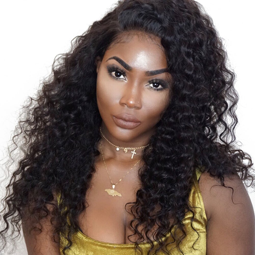Luduna Human Hair Wigs Glueless Deep Wave Wigs with Baby Hair 130% Density 100% Unprocessed Brazilian Virgin Remy Human Hair Wigs for Black Women Brazilian Lace front Wigs Preplucked(18''Natural Color)
