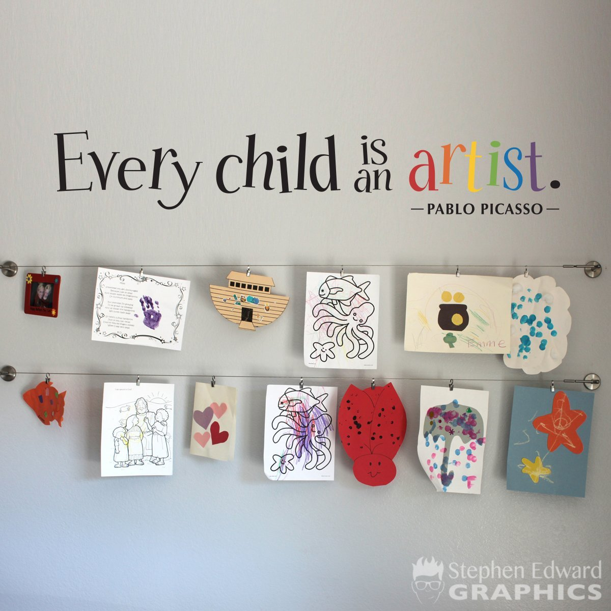 Every Child is an Artist - Artist Rainbow Wall Decal - Children Artwork Display Decal - Picasso Quote (DE0162)