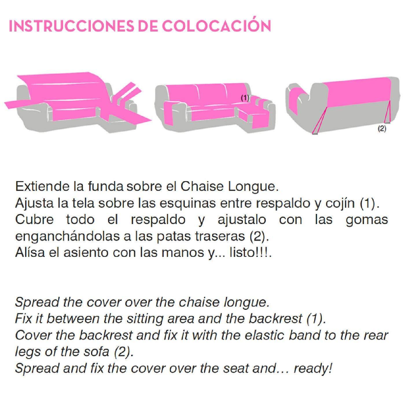 Innovaciones Roser Funda Cubre Chaise Longue Práctica Modelo Kioto, Color Beige, Medida Brazo Izquierdo – 240cm (Mirándolo de Frente)