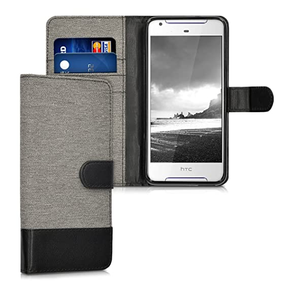 on sale 7a22d 31ac9 kwmobile Wallet Case for HTC Desire 628 Dual SIM - Fabric and PU Leather  Flip Cover with Card Slots and Stand - Grey/Black