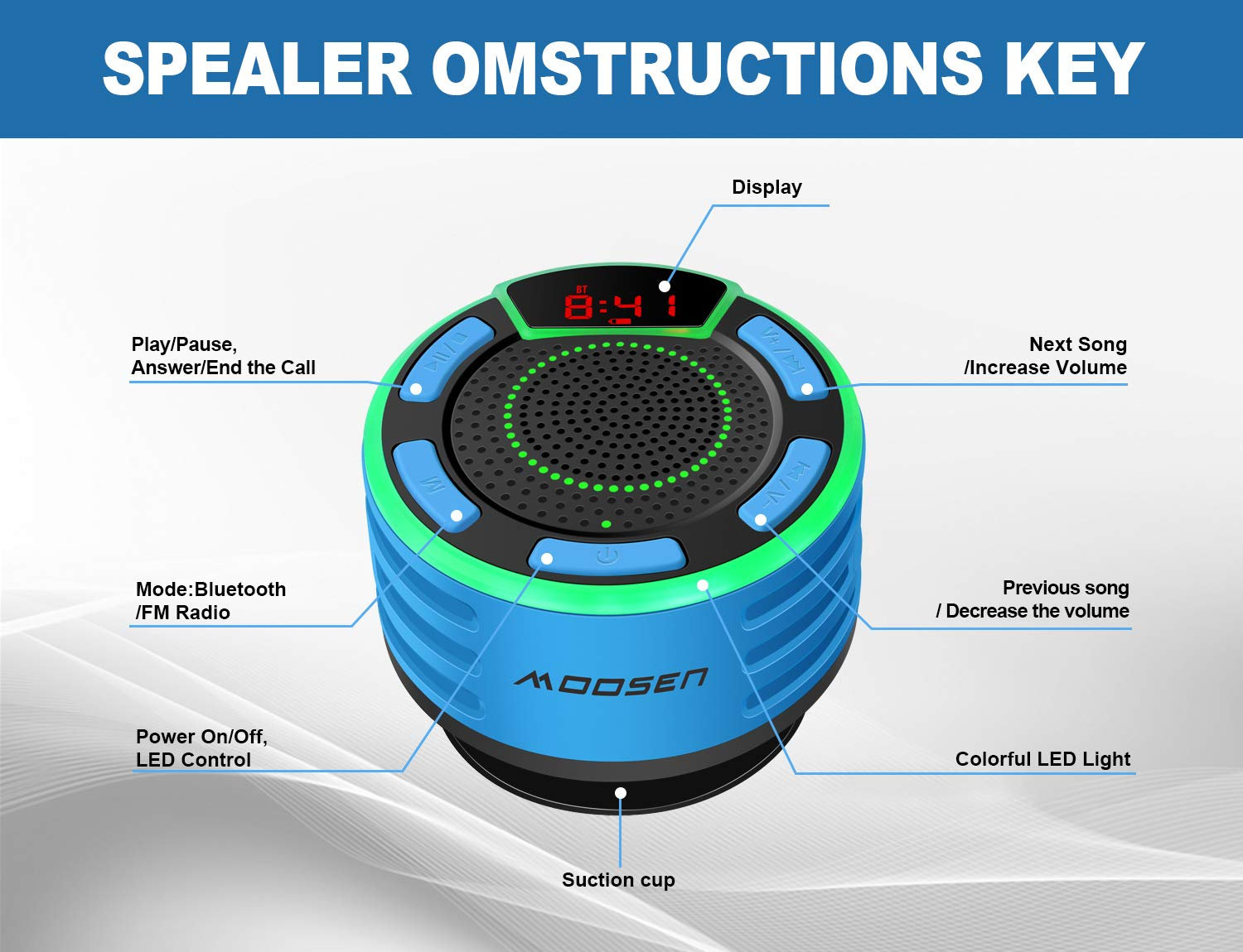 TWS and Light Show Loud HD Sound and Deep Bass Speaker for Bathroom Pool Beach Outdoor Bluetooth Speaker moosen IPX7 Waterproof Portable Wireless Bluetooth Shower Speaker with FM Radio LED Display