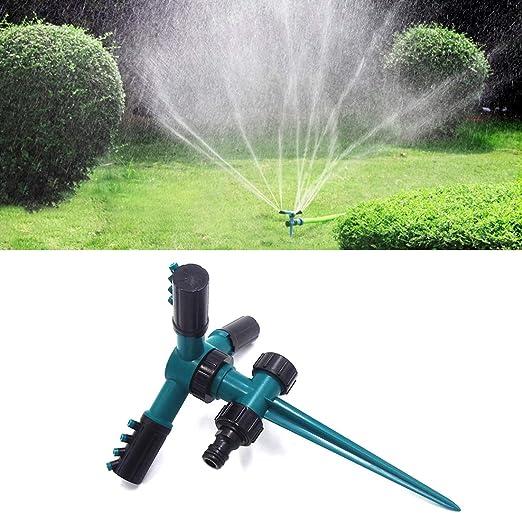 Jardín aspersor de riego Automática giratoria 360 Ajustable del jardín del Agua Extintor de Sistema de riego del césped con jardín 3 Brazo Pulverizadores y Punto Base: Amazon.es: Jardín